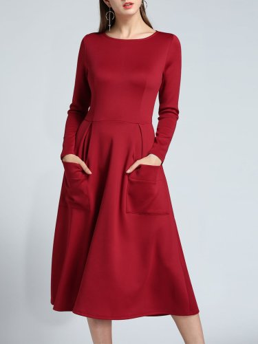 Double Pockets Elegant A Line Dress