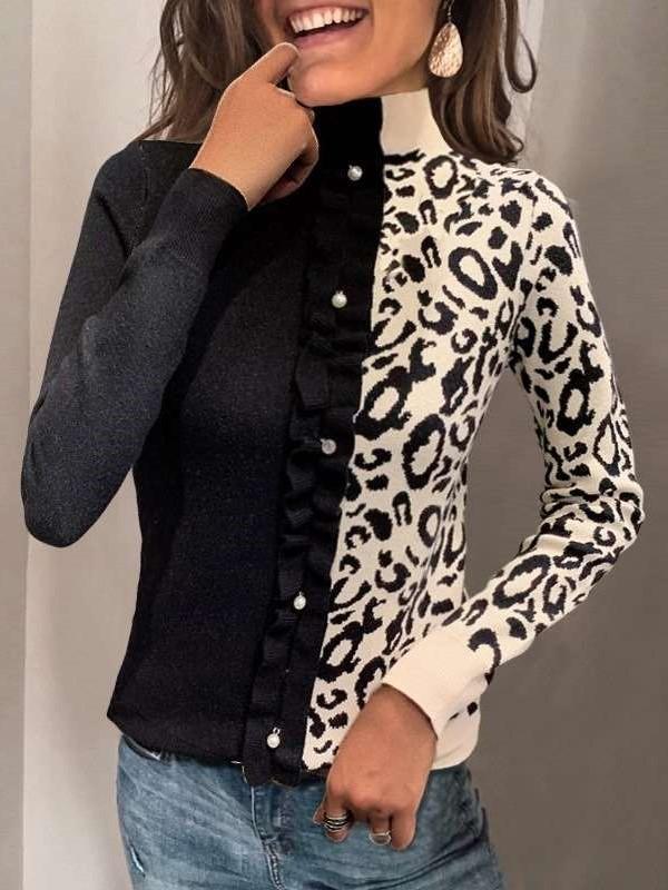Fashion Leopard print Gored High collar Long sleeve Sweaters