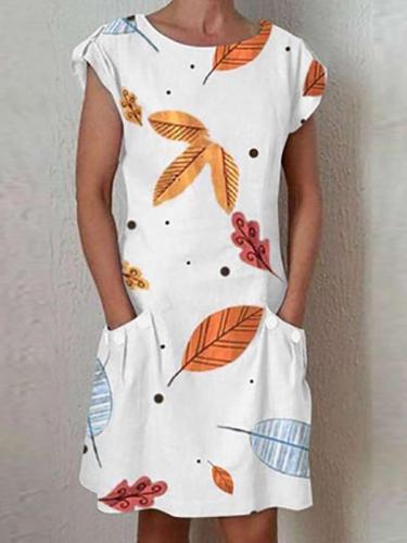 Casual Print Round neck Short sleeve Pocket Shift Dresses
