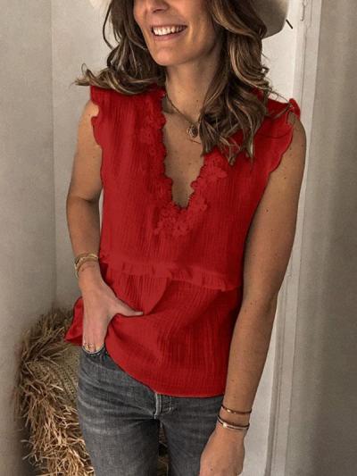 Stylish Stitched lace sleeveless shirts vests tops