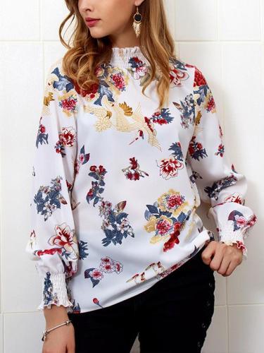 Autumn Winter Printed High Collar Chiffon Blouse