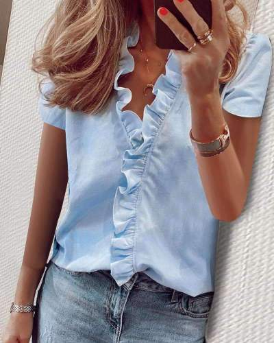 Fashion V neck Short sleeve Pure Falbala Blouses