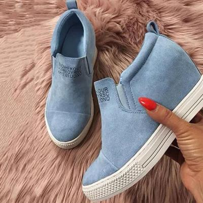 Casual Fashion Letter Slip On Wedge Sneakers Faux Suede Wedge Heel Sneakers