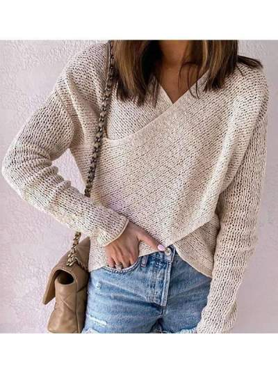 Solid color V neck long sleebe knit  stylish sweaters