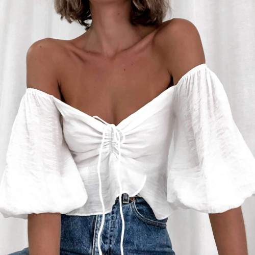 Pure Casual Sexy V neck Puff sleeve Lacing T-Shirts