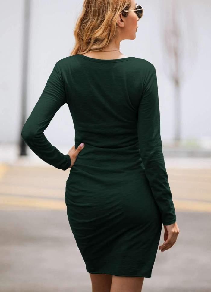 Sexy Irregular Long sleeve Round neck Bodycon Dresses