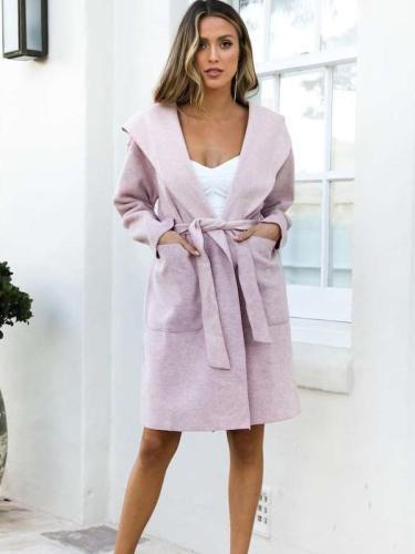 Fashion Pure Hoodies Long sleeve Lacing Coats