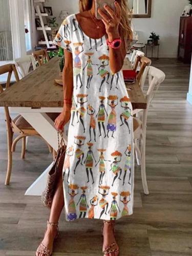 Loose people printed short sleeve long maxi dresses