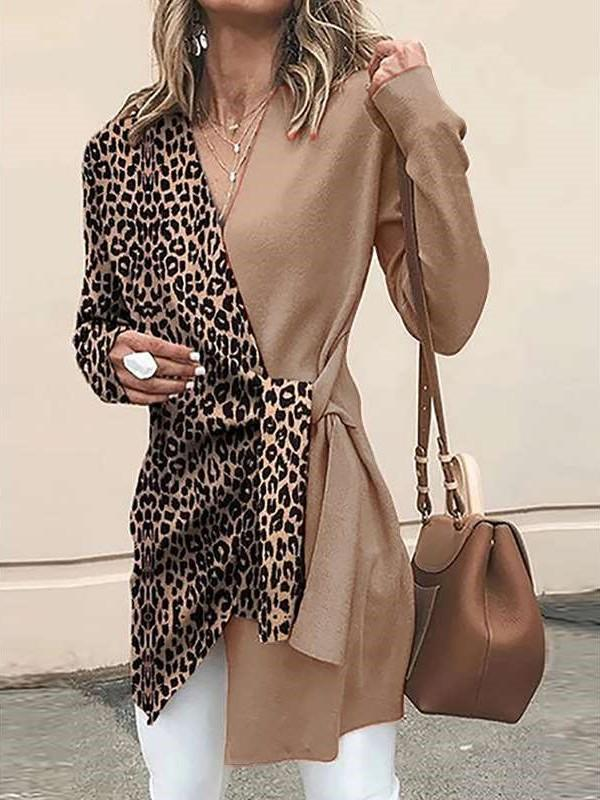 Leopard print V neck Gored Long sleeve Lacing Coats