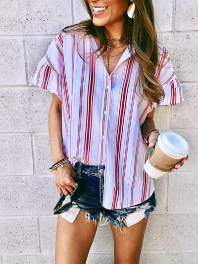 Fashion Casual Stripe Short sleeve Lapel Blouses