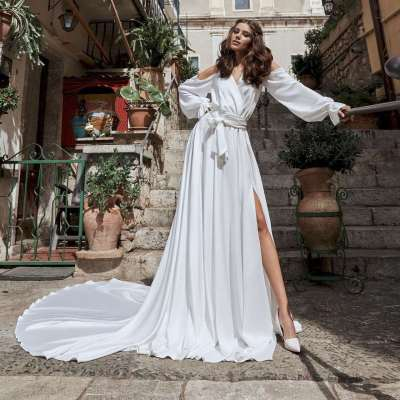 Fashion Sexy Pure V neck Off shoulder Long sleeve Irregular Skater Evening Dresses