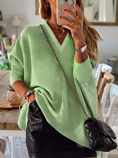 Solid color women's irregular hem long sleeve v neck T-shirts