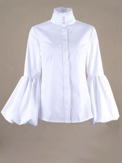 Women casual plain high neck long sleeve blouses