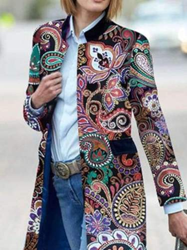 Stand up collar abstract printed casual long sleeve coats