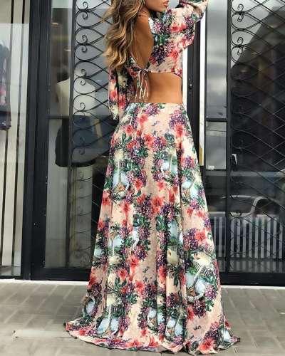 Fashion Print Hollow Long sleeve Vacation Dresses