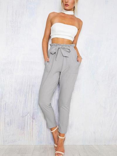 Fashion casual high waist ninth pants