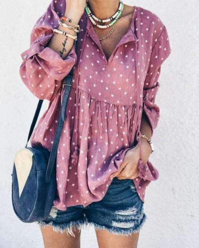 Fashion Casual Print V neck Long sleeve Gored Blouses