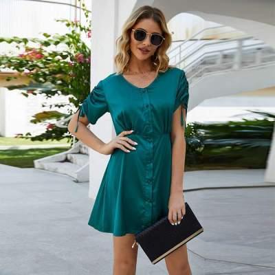 Casual Pure Fastener Short sleeve Lacing Skater Dresses