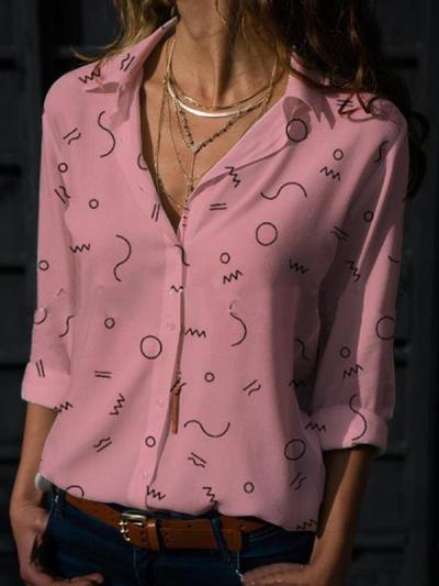 Fashionable v-neck long-sleeve printed Blouses