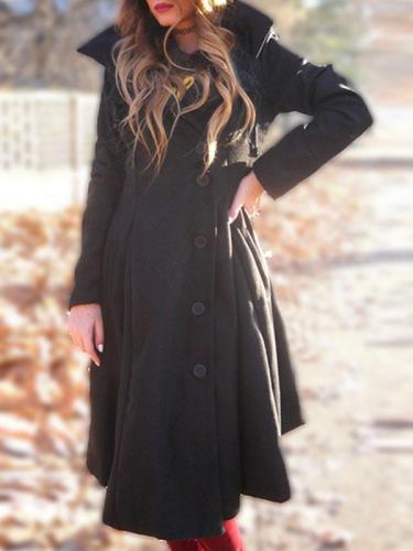 Black Woman Hooded Pocket Long Coats
