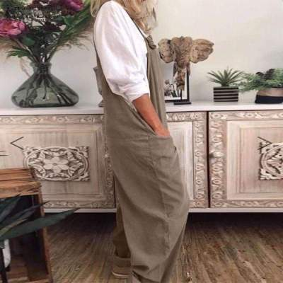 Casual Loose Pure Vest Pocket Jumpsuits