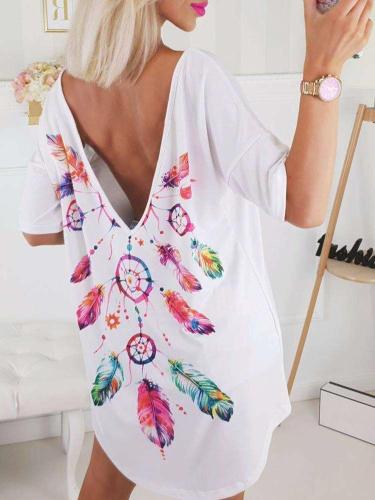 Fashion Print Short sleeve Backless T-Shirts