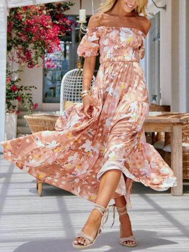 Casual Print One shoulder Short sleeve Maxi Dresses
