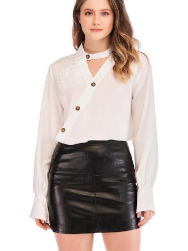 Fashion V neck Long sleeve Blouses
