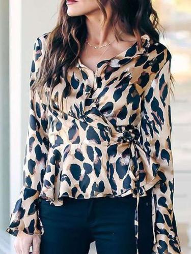 Fashion Leopard print V neck Lacing Mandarin sleeve Blouses
