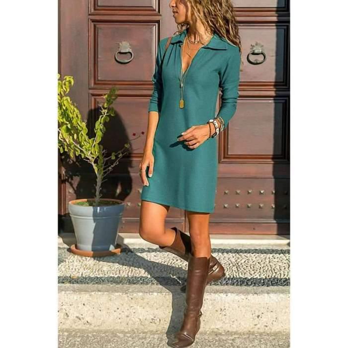 Pure Lapel Long sleeve Shift Dresses