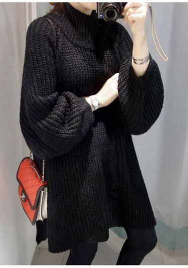 Plus Pure High collar Long sleeve Vent Sweaters