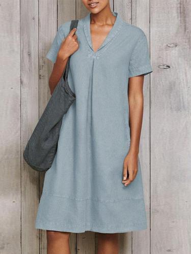 Vintage casual plain women v neck shift dresses