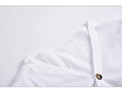 Pure Fastener V neck Long sleeve Blouses