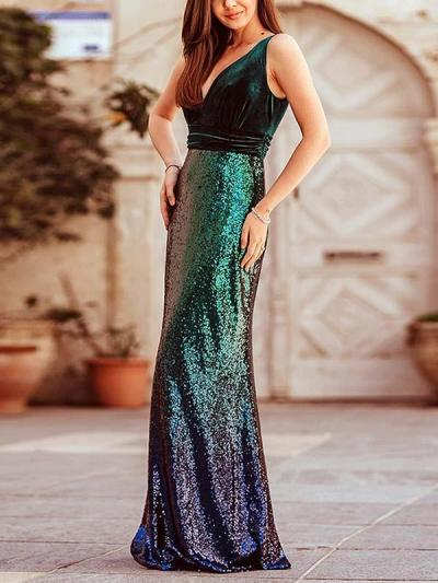 Sexy slim v neck sleeveless Gradient sequins women long evening dresses