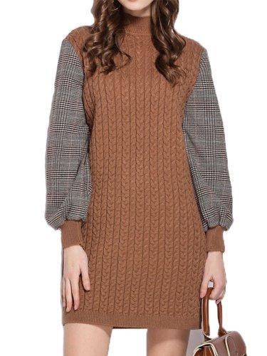 High Collar Fashion Woman Shift Dress