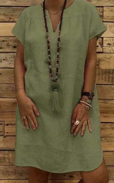 Casual Loose Pure V neck Short sleeve Shift Dresses