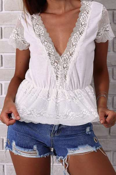 Sexy Lace V neck Gored Short sleeve T-Shirts
