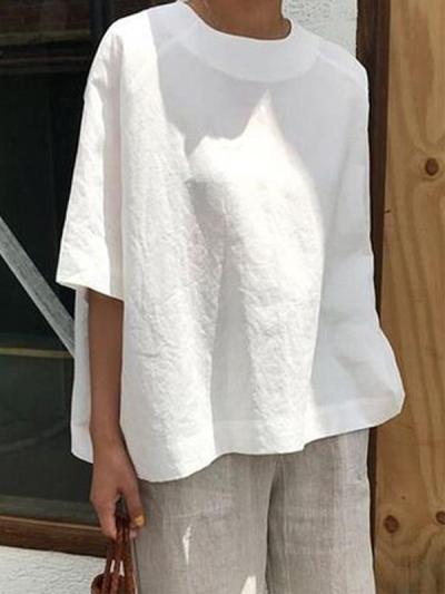 Plus size loose casual women plain cotton linen blouses