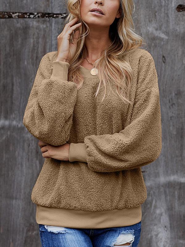 Chic round neck long sleeve plain sweatshirts