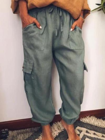 Women loose casual long tie long pants