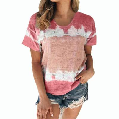 Loose Round neck Short sleeve Print T-Shirts