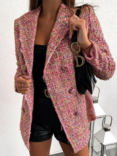 Women fashion chic turn down neck long blazer coats