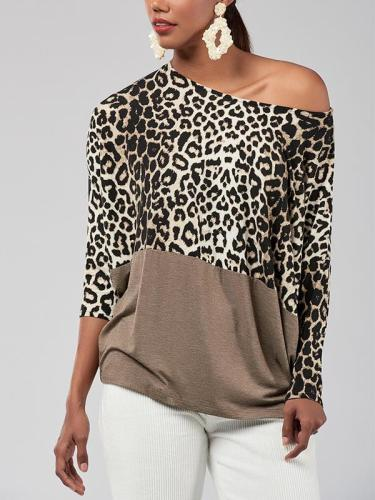 Fashion Casual Off The Shoulder Matching Leopard Printed T-Shirts