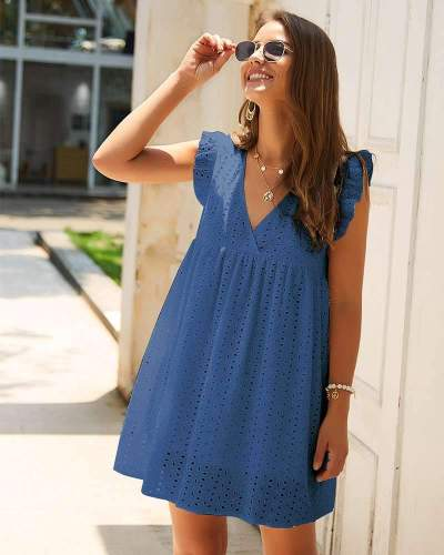 Fashion Casual Loose Hollow out V neck Falbala Shift Dresses