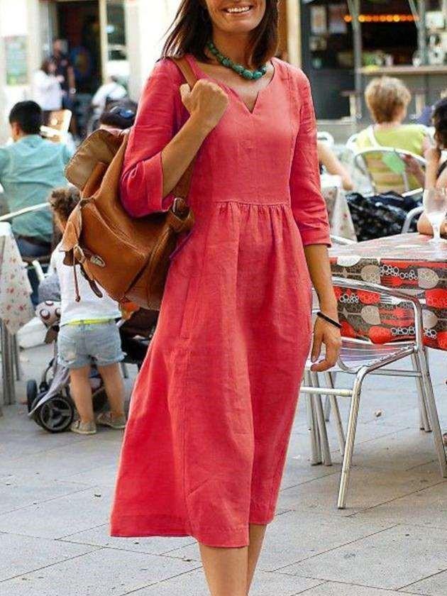 Fashion Casual Pure V neck Long sleeve Gored Maxi Dresses