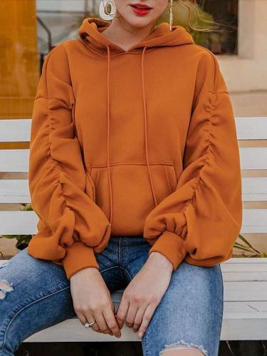 Fashion Casual Pure Puff sleeve Hoodies Sweatshirts