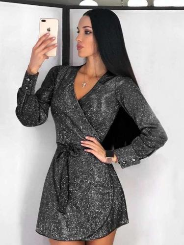 Fashion Long sleeve V neck Lacing Skater Dresses
