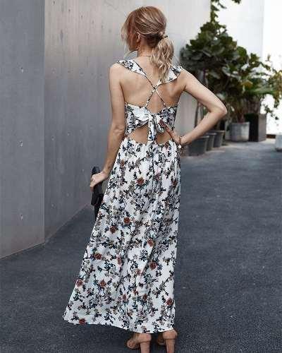 Fashion V neck Print Sleeveless Maxi Dresses