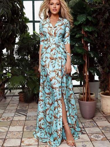 Print Half sleeve V neck Maxi Dresses