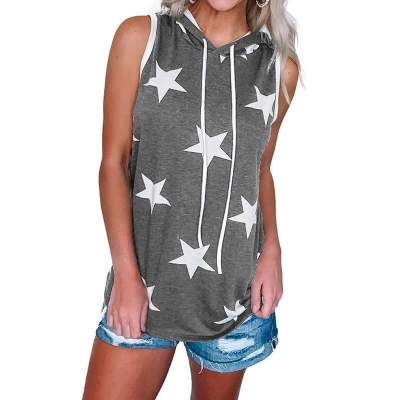 Fashion Casual Hoodie Print Sleeveless T-Shirts